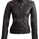 Women Black Quilted Gold Stud Skeletons Leather Jacket