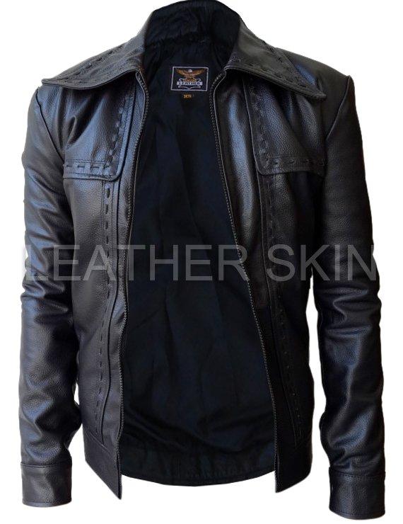 Leather Skin Men Black Dotted Genuine Leather Jacket