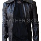 Leather Skin Men Black Dotted Genuine Leather Jacket