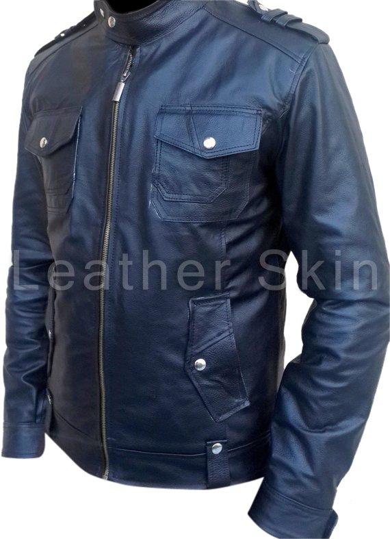 Men Black Biker Motorcycle Genuine Leather Jacket