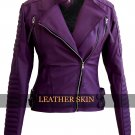 Women Purple Brando Ladies Faux Leather Jacket
