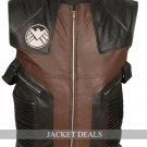 Hawkeye Men Black Brown Leather Vest