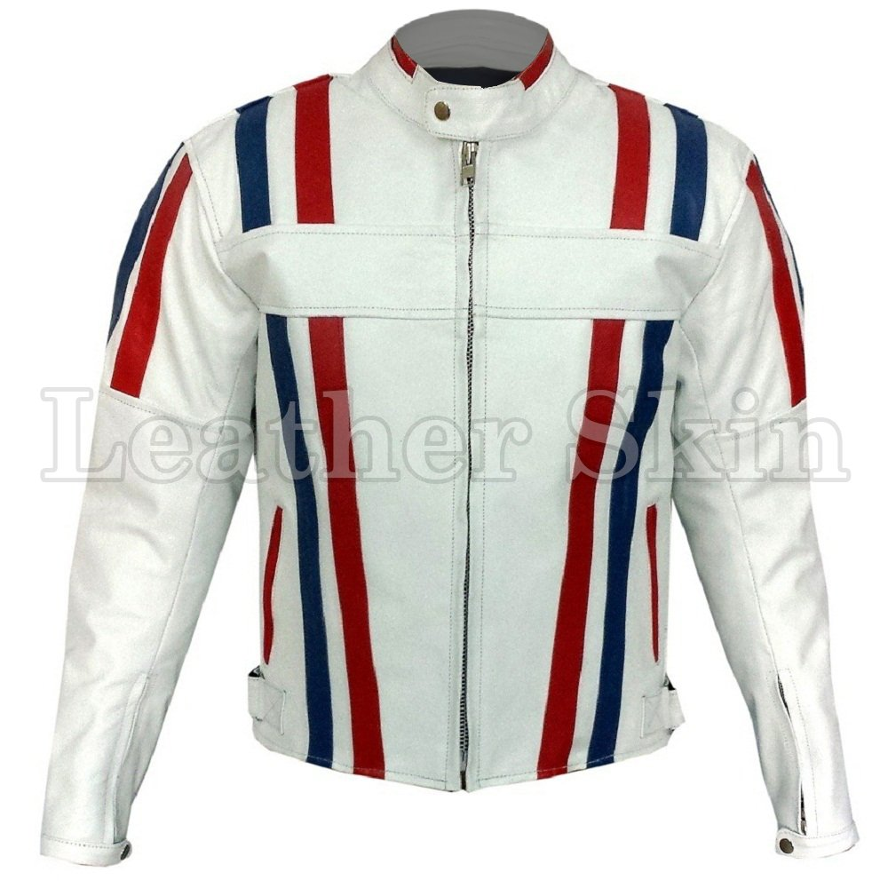 White Motorcycle Biker Racing Leather Jacket
