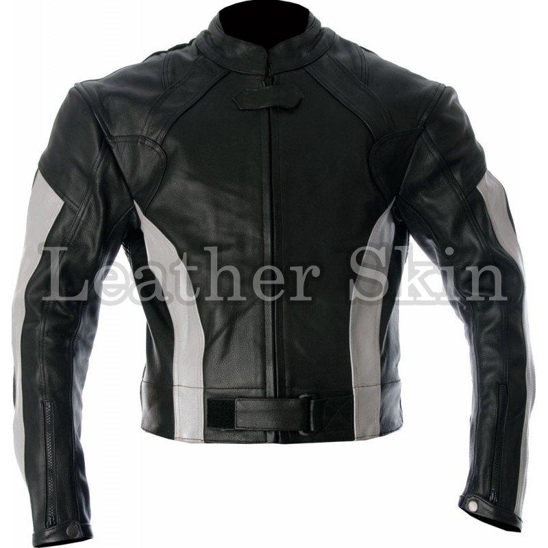 Black White Stripes Biker Motorcycle Leather Jacket