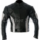 Black White Stripes Biker Motorcycle Leather Jacket