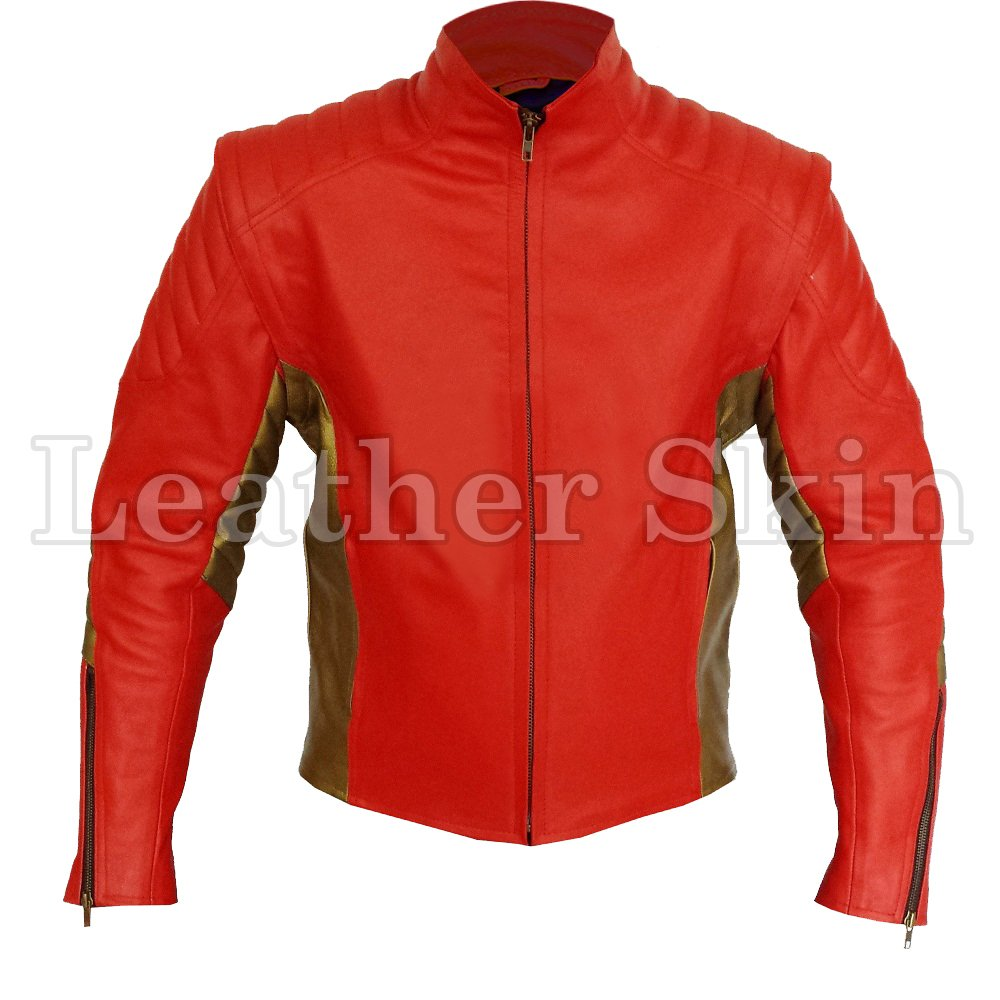Red Motorcycle Biker Racing Leather Jacket