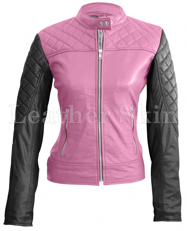 Women Pink Black Shoulder Quilted Leather Jacket