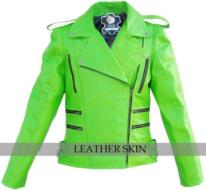 Punk Green Brando Genuine Leather Jacket