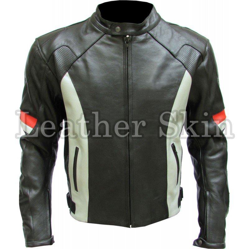 Black Biker Motorcycle Racing Genuine Leather Jacket