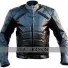 Bat Style Men Black Biker Motorcycle Leather Jacket