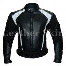 Men Black Biker Motorcycle Racing Genuine Leather Jacket