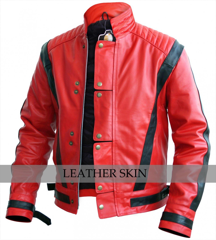 Men Red Thriller Genuine Leather Jacket Costume