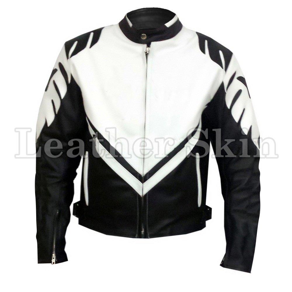 Black Motorcycle Biker Racing Genuine Leather Jacket