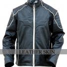 Black Bat Style Leather Jacket Costume w/ Padded Shoulder