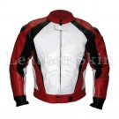 Red White Front Motorcycle Biker Racing Leather Jacket