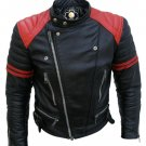 Brando Black Red Padded Shoulders Biker Leather Jacket