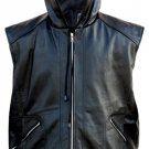 Black Hooded Leather Vest w/ Hood Quilted Lining