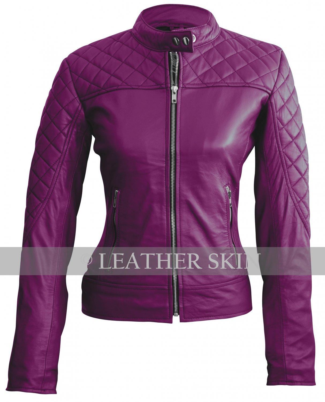 Women Purple Shoulder Quilted Genuine Leather Jacket