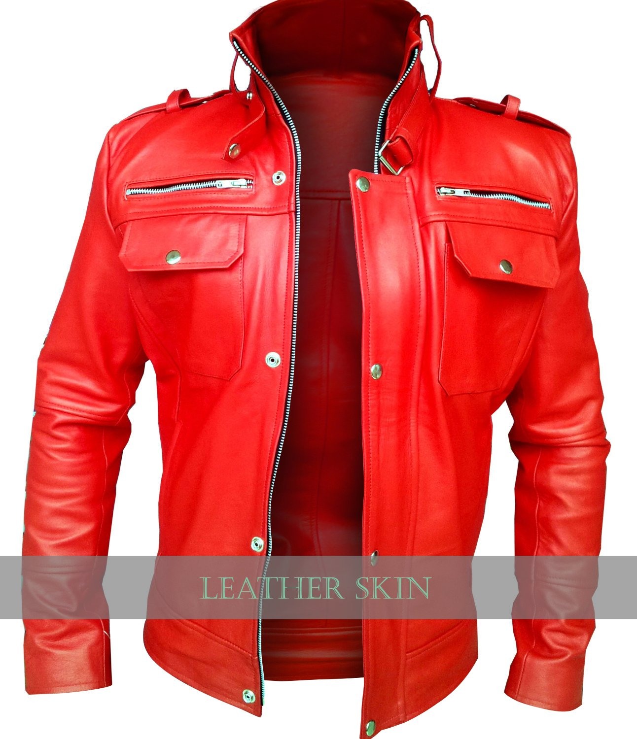 Men Red Front Up Collar Genuine Leather Jacket