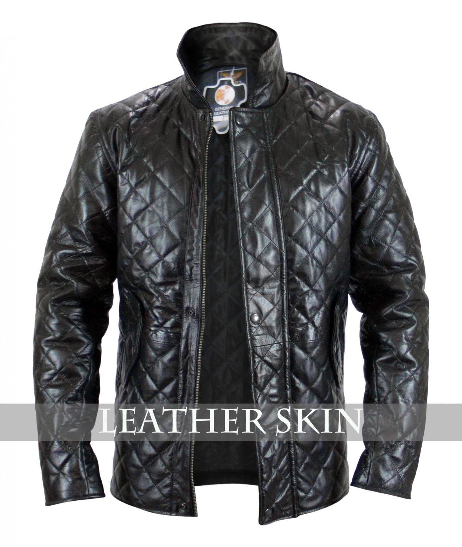 Quilted Men Women Unisex Black Genuine Leather Jacket