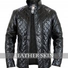 Quilted Men Women Unisex Black Genuine Leather Jacket