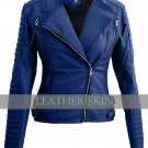 Blue Brando Women Ladies Faux Leather Jacket