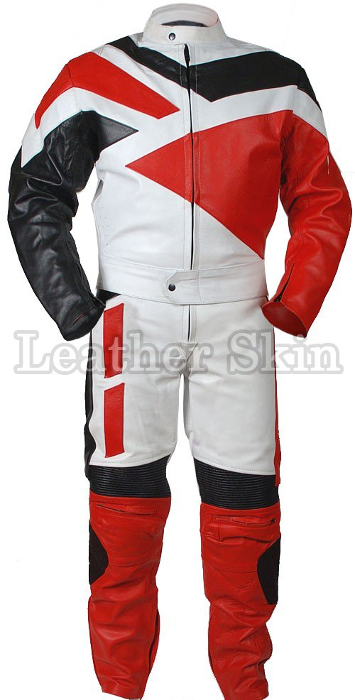 Red Motorcycle Biker Racing Genuine Leather Suit