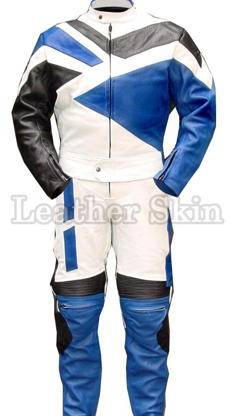 Blue Motorcycle Biker Racing Genuine Leather Suit