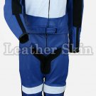 Blue Motorcycle Biker Racing Genuine Leather Suit