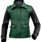 Women Rib Quilted Green Black Sleeves Leather Jacket