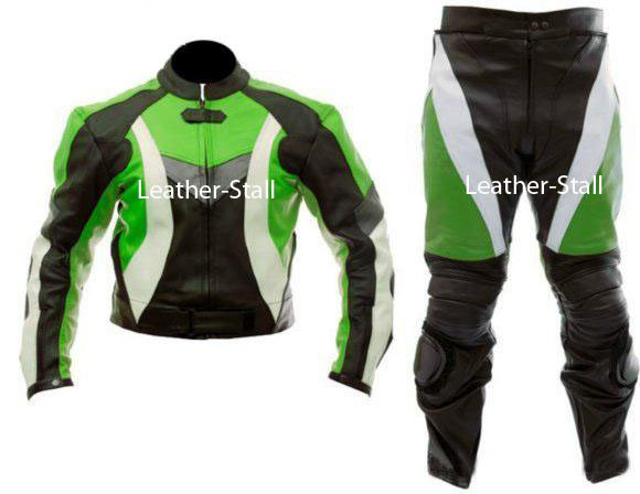 Green White Black Biker Motorcycle Leather Suit