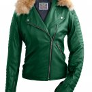 Women Green Fox Biker Genuine Leather Jacket