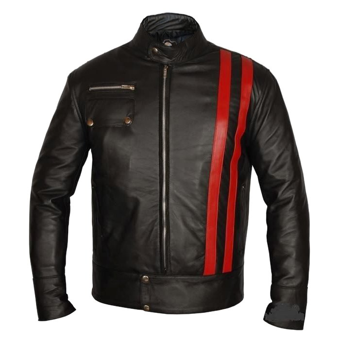 Men Red Stripes Genuine Leather Jacket Costume