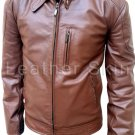 Men Brown Biker Motorcycle Leather Jacket