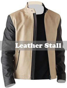 Black and Cream Mens Fashion Leather Jacket