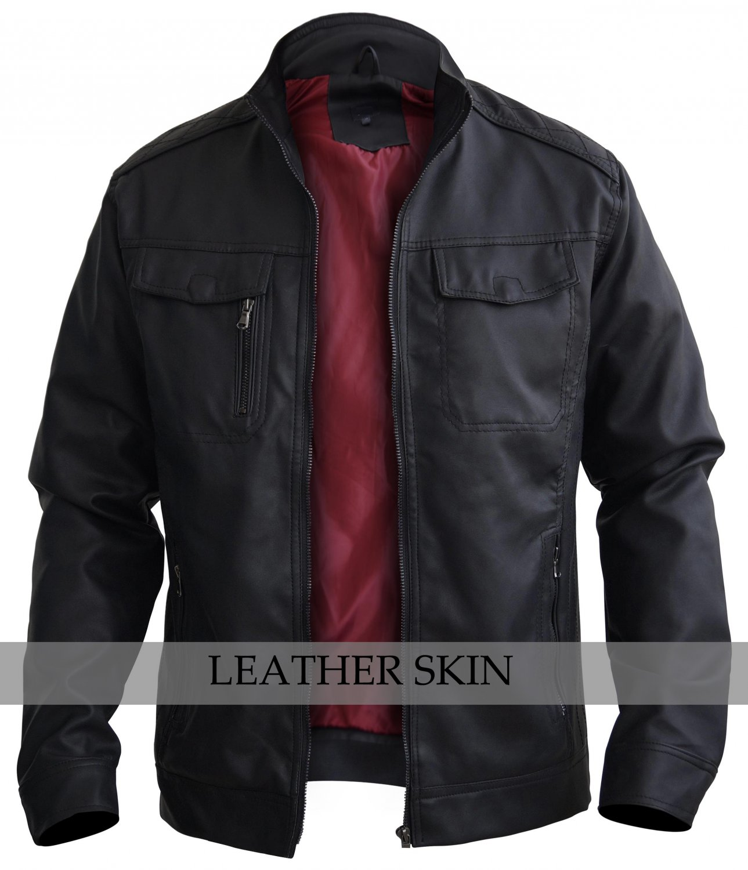 Black Crossed Shoulder Leather Jacket