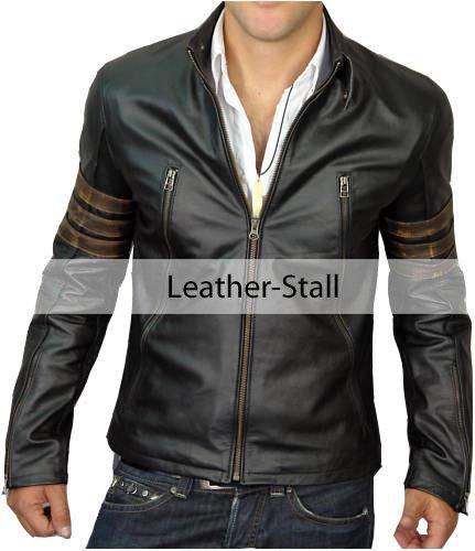 Men Black Genuine Leather Jacket with Distressed Brown Sleeve Rings