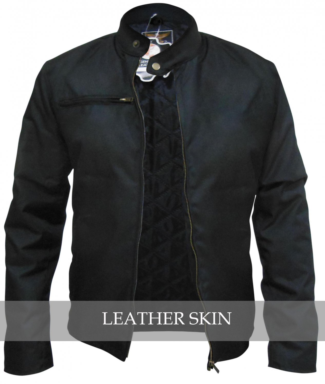 Men Black Corduroy Quilted Lining Jacket