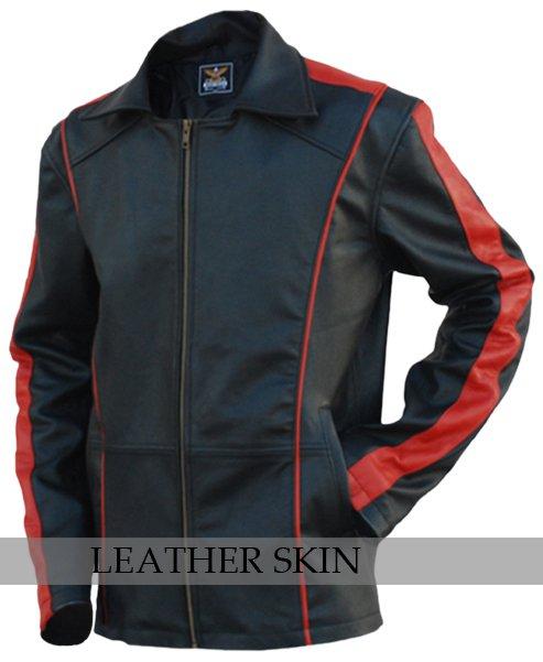 Men Black with Red Stripes Genuine Leather Jacket