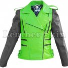 Men Punk Green Black Sleeves Leather Jacket