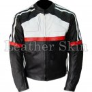 Black White Red Biker Motorcycle Leather Jacket