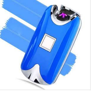 USB Electric Dual Arc Metal Flameless fingerprint Rechargeable Windproof Lighter COLOR BLUE