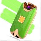 USB Electric Dual Arc Metal Flameless fingerprint Rechargeable Windproof Lighter COLOR GREEN