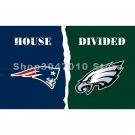 house divided flag 3x5ft New England Patriots flag vs banner Philadelphia Eagles flag banner