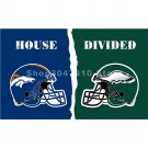 House Divided Flag 90X150CM with grommet Denver Broncos vs Philadelphia Eagles helmets