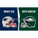 New England Patriots Helmet vs house divided Philadelphia Eagles Helmet Flag