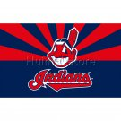 Cleveland Indians flag 30x45cm double sided Banner 100D Polyester with 50cm plastic flag pole