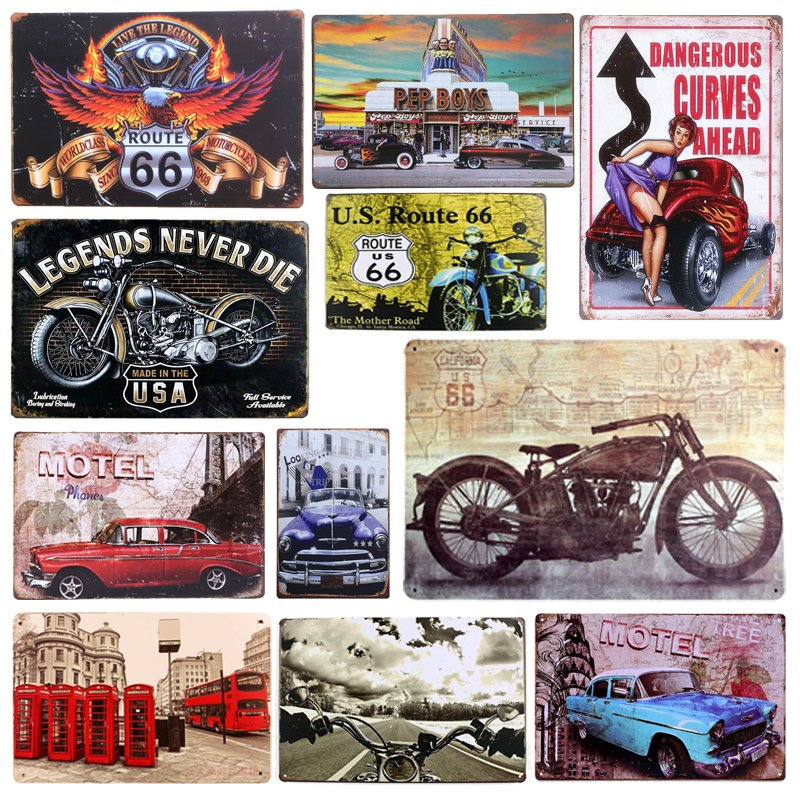 Plaque Car Theme Vintage Metal Tin Signs Motorcycle Wall Poster Decals Plate Pai