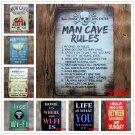 MAN CAVE RULES Retro Plaque Metal Plates Bar Pub Club Home Wall Decor ART Poster