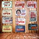 """8""""""""x12"""""""" """"""""COME IN WE""""""""RE OPEN """""""" And """""""" SORRY WE""""""""RE CLOSED """""""" Vintage Metal Sign Tin P"""